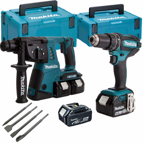Makita DLX2137PMJ 18V Combi & SDS Hammer Twin Pack with 4 Piece Chisel Set