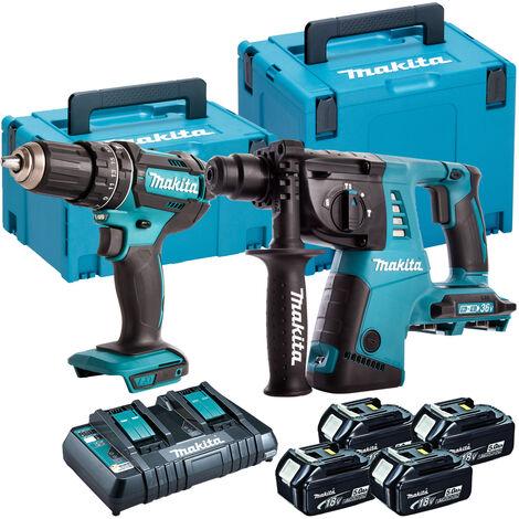 Makita DLX2137TJ 18V Combi & SDS Hammer Twin Pack 4 x 5.0Ah Batteries:18V