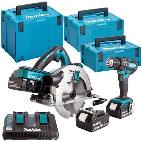 Makita DLX2140PMJ 18V Combi & Circular Saw Twin Pack With 4 x 4Ah Batteries Charger