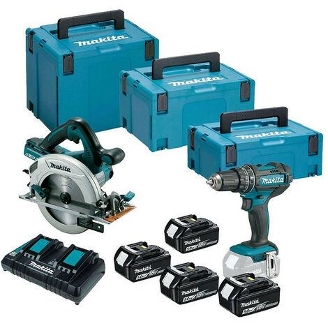 Makita DLX2140PTJ Cordless 18V Twin Kit with 4x 5.0Ah Batteries