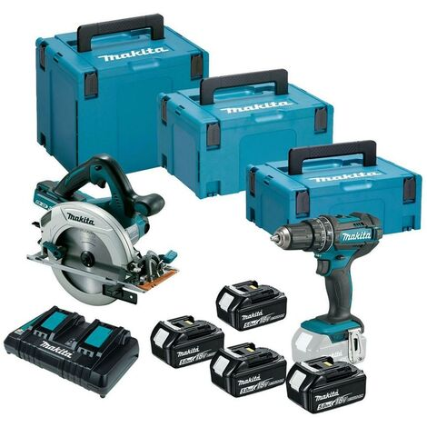 Makita DLX2140PTJ Twin 18v 36v 185mm DHS710Z Circular Saw + DHP482Z Combi Drill