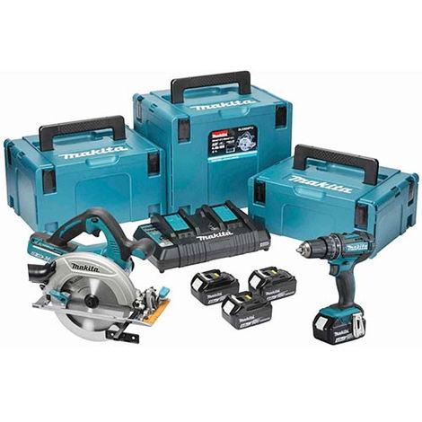 Makita DLX2140RJ 18V Twin Pack Circular Saw + Combi Drill with 4 x 3.0Ah Batteries & Dual Port Charger:18V