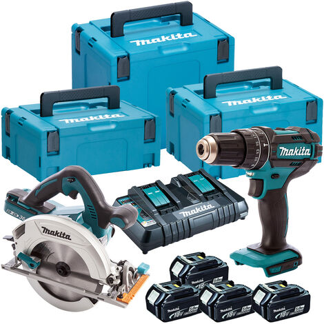 Makita DLX2140TJ 18V Twin Pack Circular Saw + Combi Drill with 4 x 5.0Ah Batteries & Dual Port Charger:18V