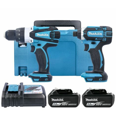 """main image of """"Makita DLX2145TJ 18V Combi & Impact Driver Twin Pack With 2 x 5Ah Batteries, Charger & Case"""""""
