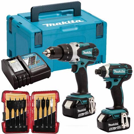 Makita DLX2145TJ 18V Twin Pack 2 x 5.0Ah Batteries & 8 Piece Flat Drill Bit Set