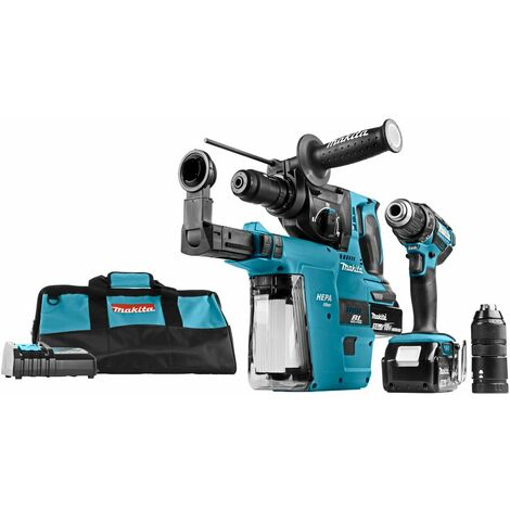Makita DLX2168TV 18V Li-Ion Perceuse-visseuse (DDF482) & Perfo-burineur (DHR243) combination (2x 5.0Ah accu) - en étui