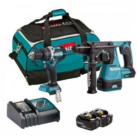 Makita DLX2204TX3 18V Cordless Combi & Hammer Drill Twinpack Kit with 2 x 5.0Ah Batteries