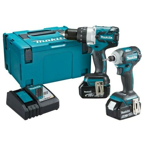 Makita DLX2214TJ 18V LXT Brushless Combi Drill & Impact Driver Kit 2x5.0Ah Batteries
