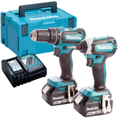 Makita DLX2283TJ 18V LXT 2 Piece Brushless Kit 2 x 5.0Ah Batteries & Charger in Case:18V