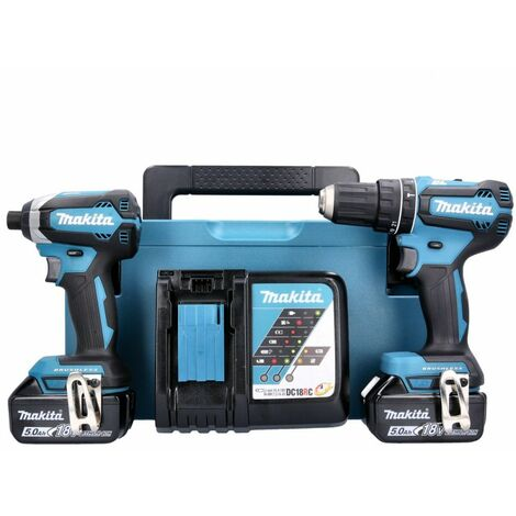 Makita DLX2283TJ 18V LXT Brushless Twin Pack With 2 x 5.0Ah Batteries, Charger & Case