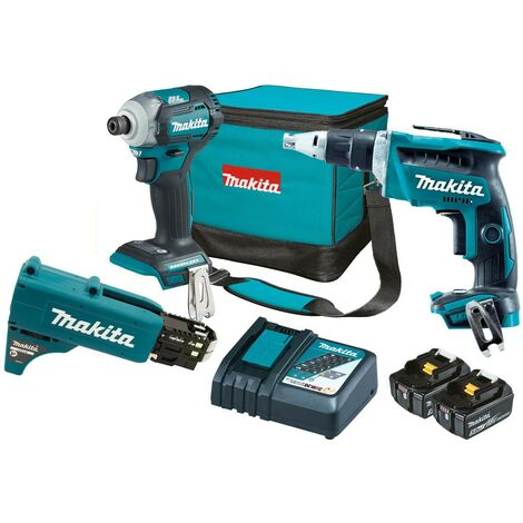 Makita DLX2341TX1 18v Brushless Collated Autofeed Screwdriver + Impact Driver