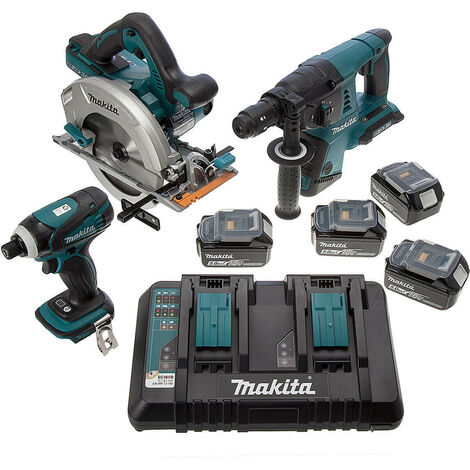 Makita DLX3029PTJ 18V Cordless 3 Piece Kit with 4 x 5.0Ah Batteries and Twin Charger