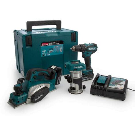 Makita DLX3116TJ 18v LXT Cordless 3 Piece Kit DHP485, DRT50 & DKP180 inc 2x 5.0ah batt