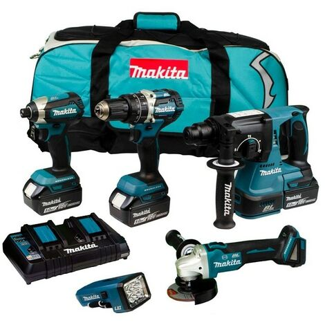 Makita DLX5042PT 18V Brushless 5 Piece Kit with 3x 5.0Ah Batteries
