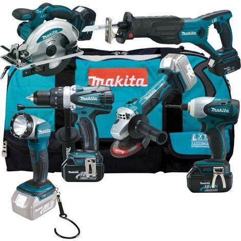 Makita DLX6011 18V Litio-Ion batería Set de herramientas 6 piezas (3x baterías 3.0Ah) en bolso