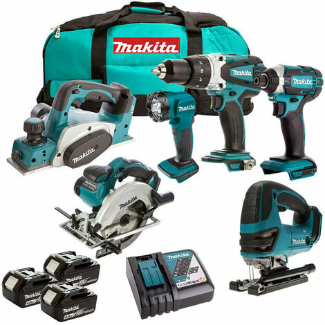 Makita DLX6012PM 18V 6 Piece Combo Kit 3 x 4.0Ah Batteries Charger & Bag:18V
