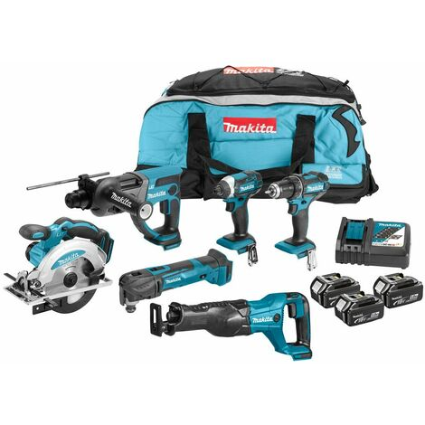 Makita DLX6038T Ensemble d'outils à batteries 18V Li-Ion (3x batterie 5,0Ah) dans Toolbag