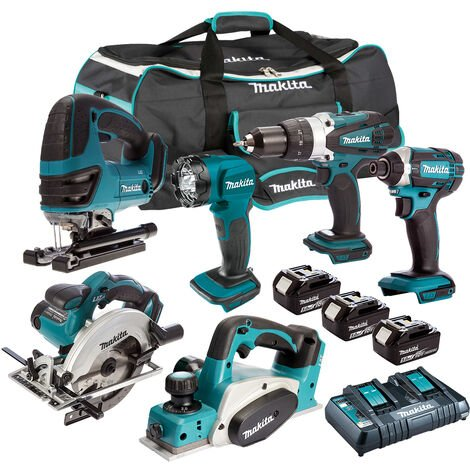 Makita DLX6067PT 18V LXT 6 Piece Kit 3 x 5.0Ah Batteries with Twin Port Charger