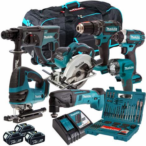 Makita DLX6068PT 18V 6 Piece Power Tool Kit 3 x 5.0Ah & 101 Piece Bit Set & Multi Tool
