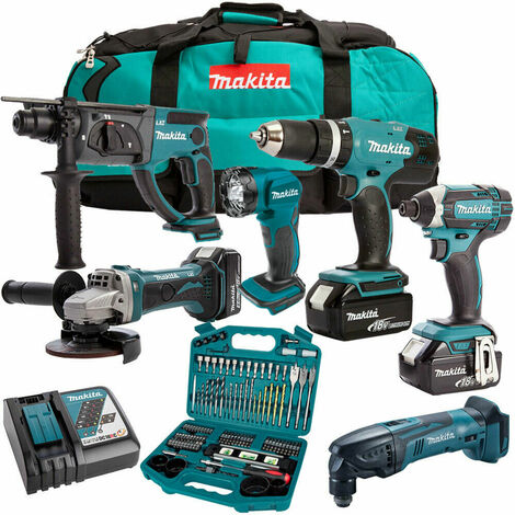 Makita DLX6075M 18V 6 Piece Kit with 3 x 4.0Ah Batteries Charger & 101 Accessory Set:18V
