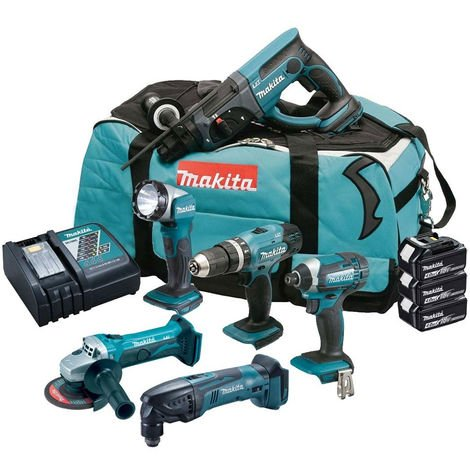 Makita DLX6075M 18V LXT Cordless 6 Piece Kit 3 x 4.0Ah:18V