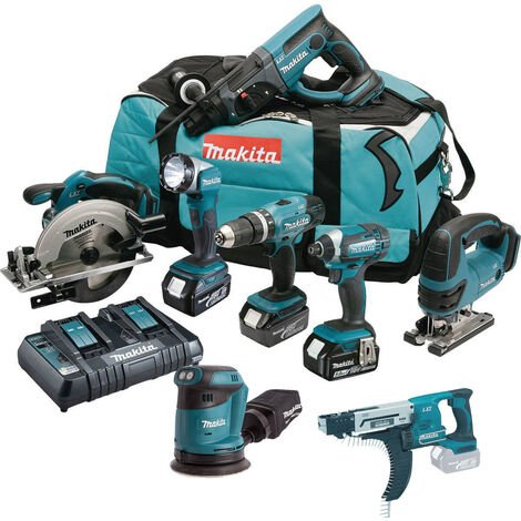 Makita DLX8068PT 18V 8 Piece Kit with 3x 5.0Ah Batteries & Twin Port Charger