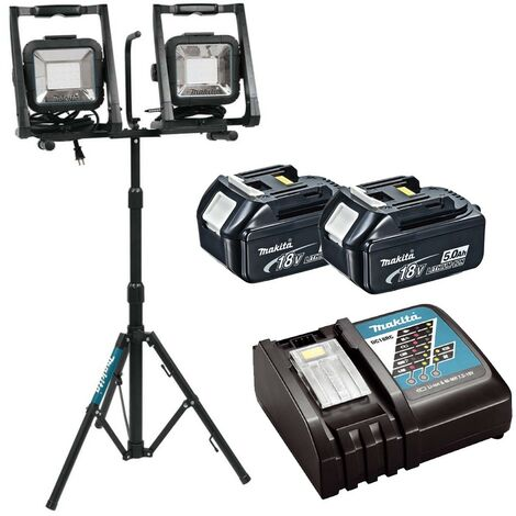 Makita DML805 18v 110v LXT LED Work Light Site Light Twin + Tripod + 5AH Battery