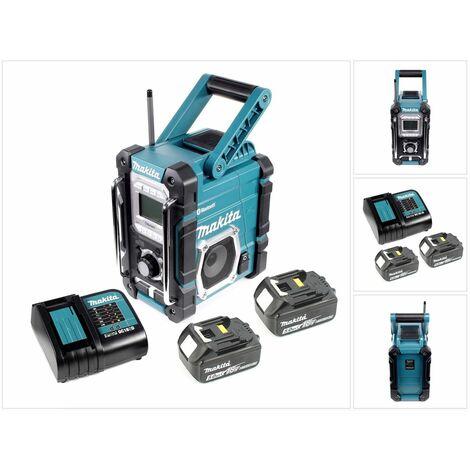 Makita DMR 106 7,2 - 18 V Radio de chantier sans fil avec Bluetooth + 2x Batteries 5,0 Ah + Chargeur