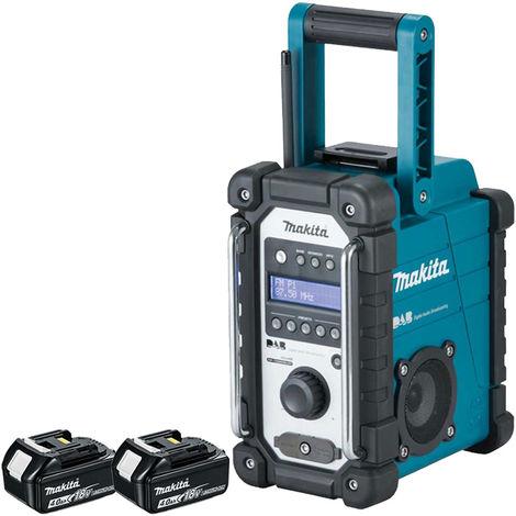 Makita DMR109 DAB 10.8V-18V LXT/CXT Job Site Radio With 2 x 4.0Ah Batteries:18V