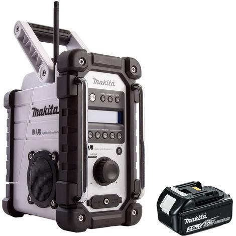 Makita DMR109W DAB 10.8v-18v LXT/CXT Job Site Radio with 1 x 3.0Ah Battery:18V