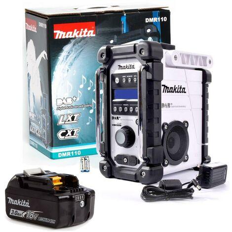Makita DMR110W DAB+ LXT CXT 10.8v 18v White LI-ion Job Site Radio +18v Battery