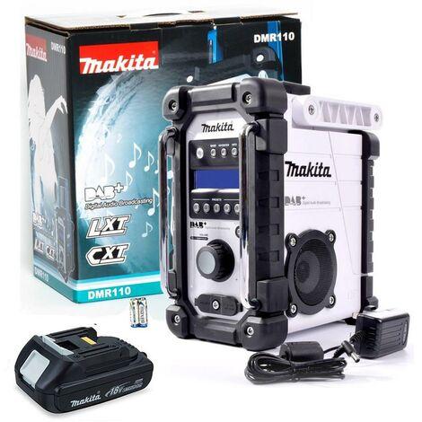 Makita DMR110W DAB PLUS LXT CXT 10.8 18v White LI-ion Job Site Radio 18v Battery