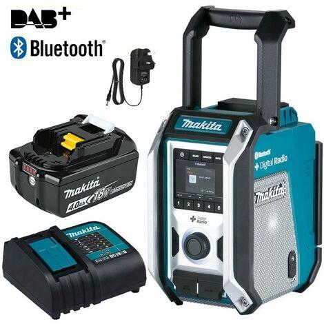 Makita DMR115 Digital DAB Site Radio DAB+ + Bluetooth Charger + 18v 4ah Battery