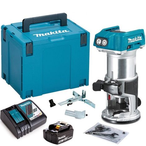 """Makita DRT50ZJ 18V 1/4"""" Router Trimmer with 1 x 3.0Ah Battery & Charger in Case"""