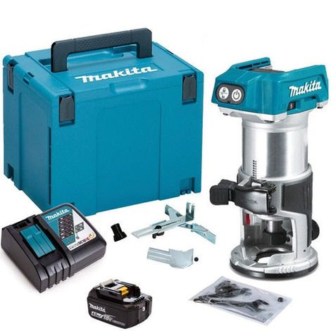 """Makita DRT50ZJ 18V 1/4"""" Router Trimmer with 1 x 4.0Ah Battery & Charger in Case"""