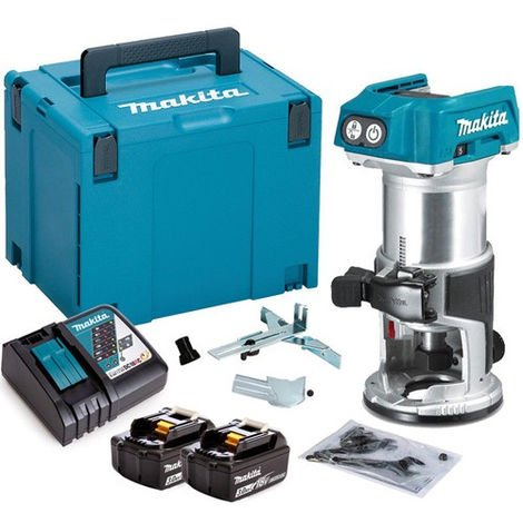 """Makita DRT50ZJ 18V 1/4"""" Router Trimmer with 2 x 3.0Ah Battery & Charger in Case"""