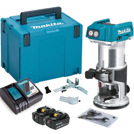 """Makita DRT50ZJ 18V 1/4"""" Router Trimmer with 2 x 5.0Ah Battery & Charger in Case"""