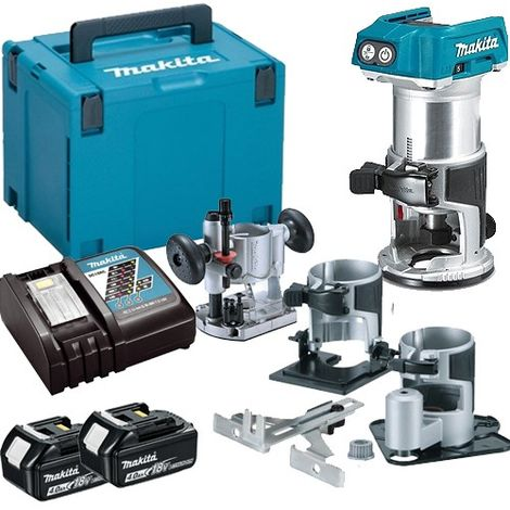 Makita DRT50ZJX3 18V Brushless Router Trimmer with Extra Bases + 2 x 4.0Ah Batteries & Charger in Case