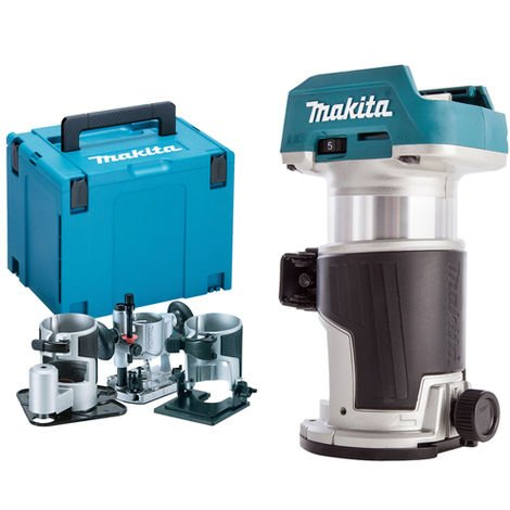 Makita DRT50ZJX3 18V LXT Brushless Router Trimmer Body with Extra Bases in Case