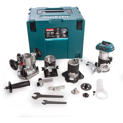 Makita DRT50ZJX3 18v Router Body Only with 4 Bases & 2 Guides