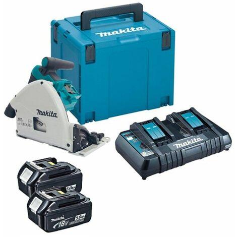 Makita DSP600PT2J 36V (2x 18V) Litio-Ion batería Juego de Sierra de mesa (2x baterías 5,0Ah ) en Mbox - 165 x 20 mm - sin escobillas