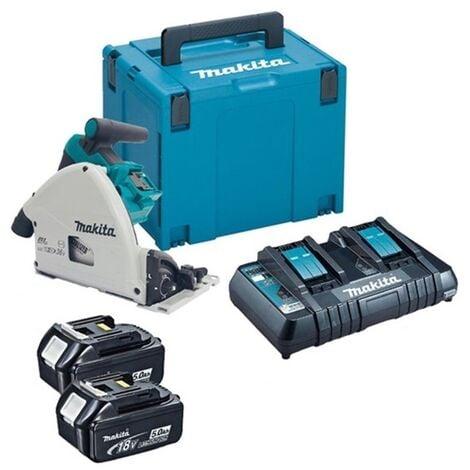 Makita DSP600PT2J Batterie Li-Ion 36V (2x 18V) Kit de scie plongeante (2x batterie 5.0Ah) dans MAKPAC - 165 x 20 mm - sans balais