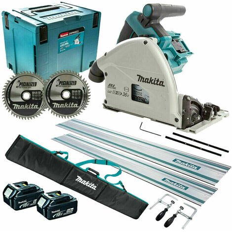 Makita DSP600TJ 36V 165mm Brushless Plunge Saw 2 x 5.0Ah & Accessories Set