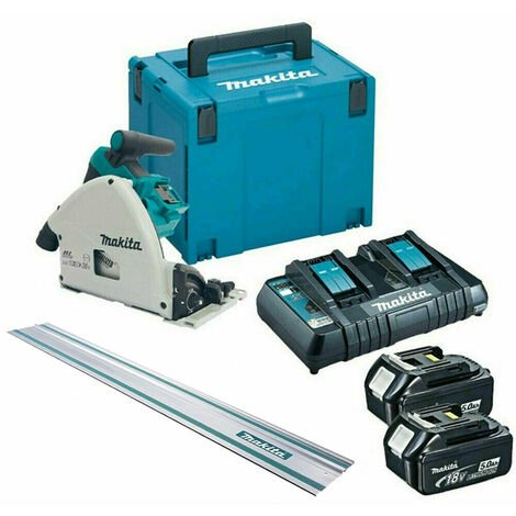 Makita DSP600TJ 36V/18V Brushless Plunge Saw + Guide Rail with 2 x 5.0Ah Batteries & Charger