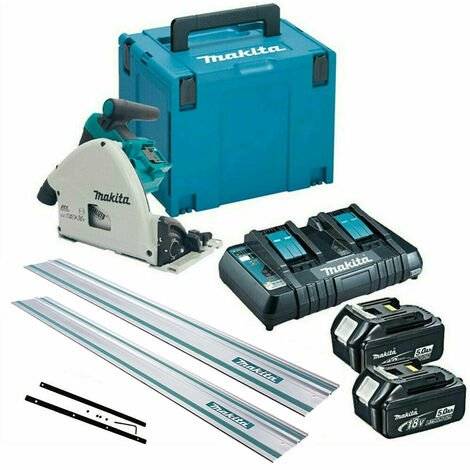 """main image of """"Makita DSP600TJ 36V Brushless Plunge Saw with 2 x 5.0Ah Batteries Charger + 2 x Guide Rail & Connector"""""""