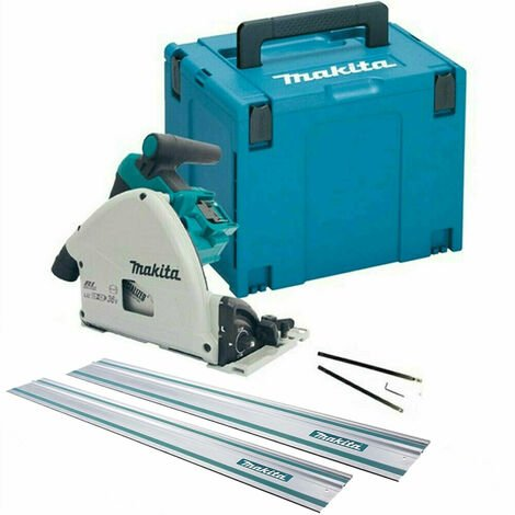 Makita DSP600ZJ 36V/18V Brushless Plunge Saw with 2 x Guide Rails & Connector