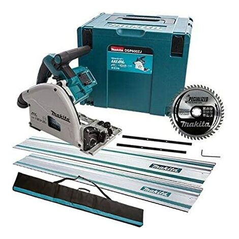Makita DSP600ZJ 36V Brushless 165mm Plunge Saw with 2x1.5m Guide Rail Case+Bag+Blade