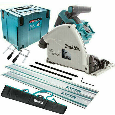 Makita DSP600ZJ 36V Brushless Plunge Saw with 2 x Guide Rail, Clamp, Bag & Case