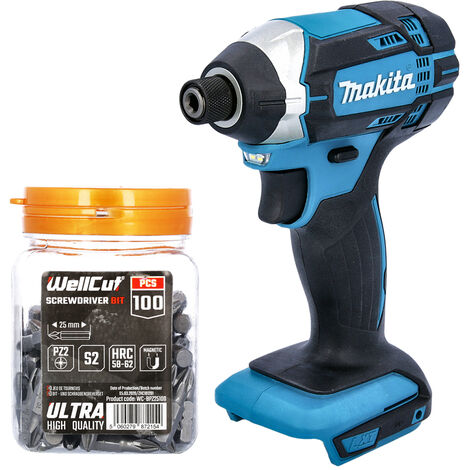 Makita DTD152 18V Impact Driver With 100 Pcs PZ2 25mm Screwdriver Bits In Candy Tub
