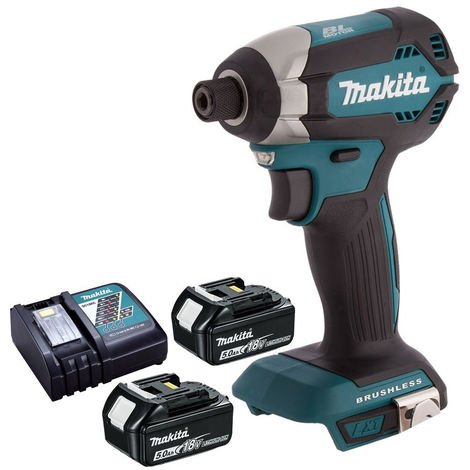 Makita DTD153Z 18V Brushless Impact Driver Body With 2 x 5.0Ah Battery & Charger:18V
